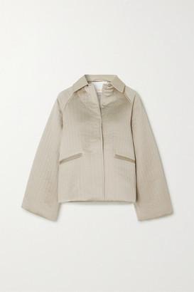 REMAIN Birger Christensen Kyoto Leather-trimmed Quilted Hammered-satin Jacket - Ecru