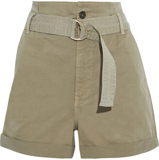 Frame Safari Belted Cotton-blend Twill Shorts
