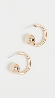 "Kenneth Jay Lane 1"" Gold Hoops with Ball End Post Earrings"