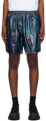 we11done Black Holoshine Metallic Logo Shorts