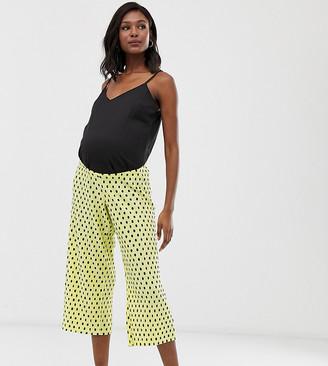 ASOS DESIGN Maternity under the bump plisse spot culotte pants
