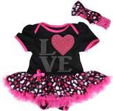 Petitebella Valentine Baby Dress I Love Heart Black Bodysuit Hearts Tutu Romper Nb-18m