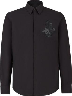 Fendi rhinestone trimmed Alcantara FF patch shirt