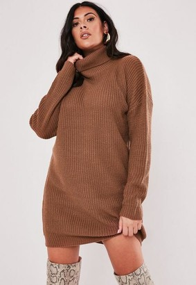 Missguided Plus Size Mocha Turtle Neck Sweater Dress