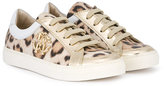Roberto Cavalli leopard print sneakers - kids - Leather/Pig Leather/rubber - 24