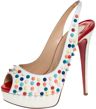 Christian Louboutin White Leather Lady Peep Multicolor Spikes Slingback Sandals Size 38