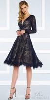 Mac Duggal Long Sleeve Keyhole Back A-line Lace Cocktail Dress
