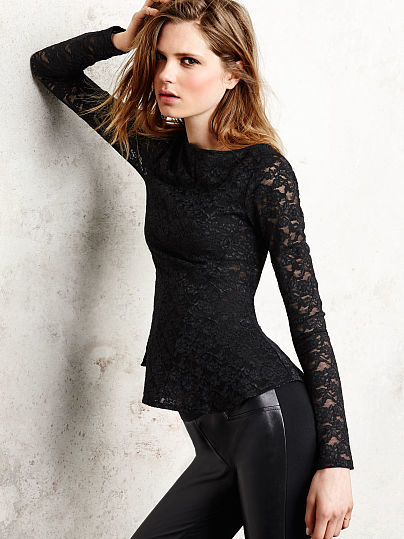 Victoria's Secret The Lace Collection Long-sleeve Peplum Top