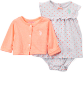 U.S. Polo Assn. Gray & Orange Dot Skirted Bodysuit & Cardigan - Infant
