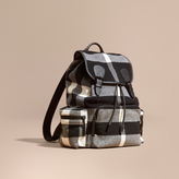 Burberry The Large Rucksack In Check Wool Blend And Leather