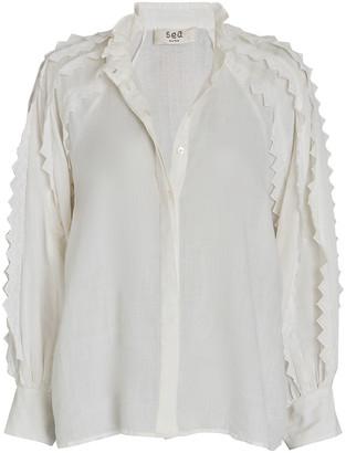 Sea Zig Zag Button-Down Shirt