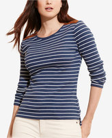 Lauren Ralph Lauren Plus Size Striped Zip-Shoulder Shirt