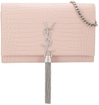 Saint Laurent small Kate crocodile-effect tassel crossbody bag