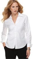 Jones New York Petite Shirt, Long Sleeve Easy Care