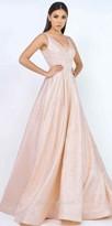 Mac Duggal V-Shape A-line Brocade Ball Gown with Sweep Train