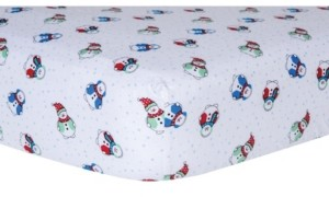 Trend Lab Snowman Print Flannel Fitted Crib Sheet Bedding