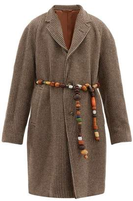 Bode - Brick Beaded Belt Single Breasted Wool Coat - Mens - Multi