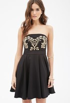 Forever 21 FOREVER 21+ Contemporary Baroque-Embroidered Fit & Flare Dress