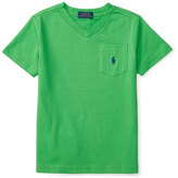 Ralph Lauren Cotton Jersey V-Neck Tee, Green, Size 2-4