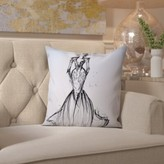 "House Of Hampton Spirit Lake Lace Gown Throw Pillow House of Hampton Size: 16"" H x 16"" W x 2"" D"