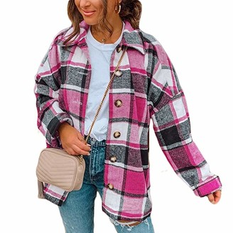 YILEEGOO Womens Plaid Shirt Ladies Flannel Color Block Checked Shirts Long Sleeve Button Down Shirt with Pockets (Brown S)