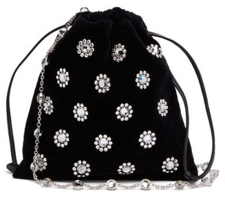 Miu Miu Flower Crystal-embellished Velvet Drawstring Bag - Black