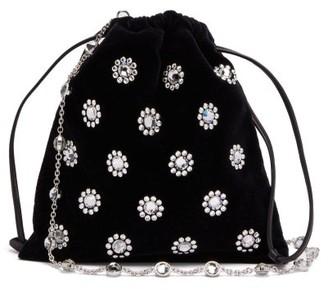 Miu Miu Flower Crystal-embellished Velvet Drawstring Bag - Womens - Black
