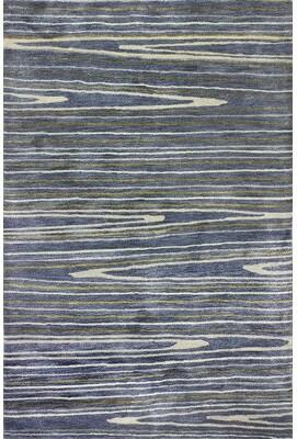 "Latitude Run South Ferry Handmade Tufted Azure Rug Rug Size: Rectangle 7'9"" x 9'9""'"