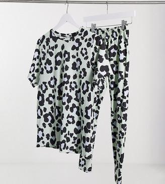 ASOS DESIGN Petite oversized tee & legging pajama set in sage leopard print