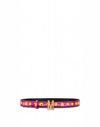 Moschino Printed Belt With M Buckle Woman Pink Size 38 It - (4 Us)