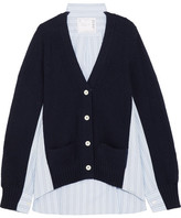 Sacai Waffle-knit Wool And Cotton-poplin Cardigan - Navy