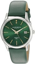 Akribos XXIV Women's AK879GN Diamond Accented Silver Tone Stainless Steel Green Leather Strap Watch