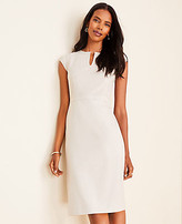 Ann Taylor The Tall Keyhole Cap Sleeve Dress in Crosshatch