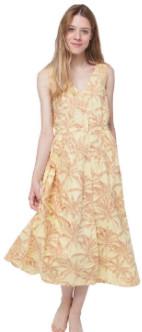 Thinking Mu - Yellow Palmeras Angelina Dress - XS - Orange/Yellow