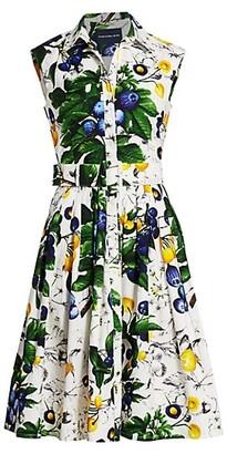 Samantha Sung Audrey Floral-Print Belted Cotton Shirtdress