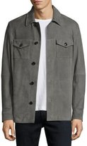 Michael Kors Suede Shirt Jacket, Gray