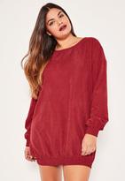 Missguided Plus Size Burgundy Elasticated Hem Mini Dress