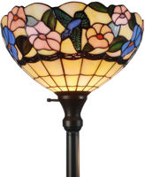 AMORA Amora Lighting AM023FL14 Tiffany-style Hummingbirds Floral Torchiere Floor Lamp 70 Inches Tall