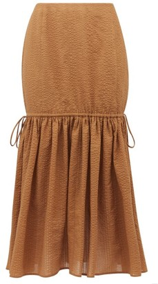 Marysia Swim Seashell Cotton-seersucker Midi Skirt - Brown