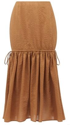 Marysia Swim Seashell Cotton-seersucker Midi Skirt - Womens - Brown