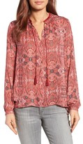 Lucky Brand Women's Print Split Neck Blouse