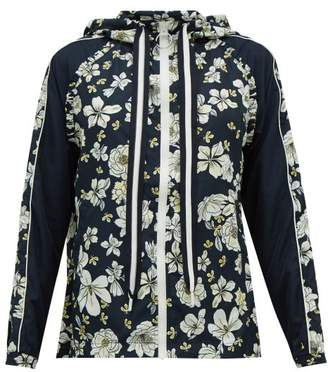 The Upside Ash Peony-print Technical Hooded Jacket - Womens - Blue Multi