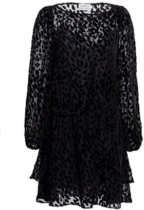 Tanya Taylor Sarina Stretch Silk Burnout Leopard Mini Dress