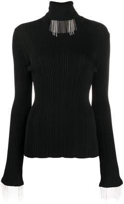 Ellery Ribbed Knit Fringed Neck Jumper