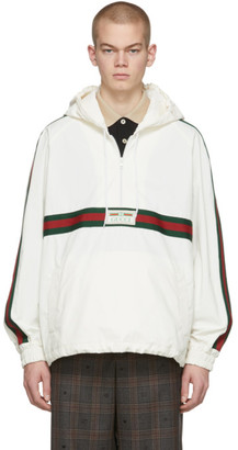 Gucci White Cotton Canvas Windbreaker Jacket