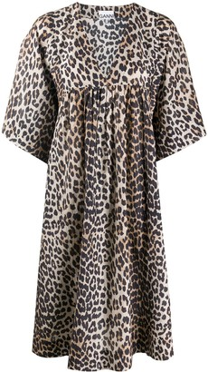 Ganni Leopard Print Smock Dress