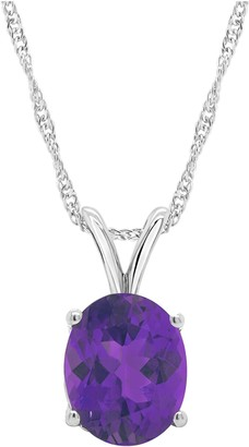 "Sterling Silver Oval Gemstone Pendant w/ 18"" Chain"