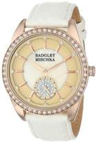 Badgley Mischka Women's BA/1316PMRG Swarovski Crystal Accented Rose Gold-Tone White Snakeskin Strap Watch
