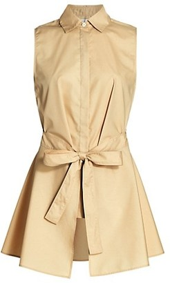 Rosetta Getty Apron Wrap Sleeveless Cotton Shirt
