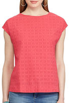 Chaps Petite Eyelet-Lace-Front Tee